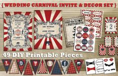 This beautifully designed vintage carnival Wedding Invitations and DIY Party Decor Printable Set in red, white and navy blue has been designed with love. Perfect for your Vintage Carnival Themed wedding, birthday or tea party!