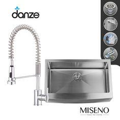 """View the Build Smart Kits MSS163320F/DD455158 Miseno 33"""" Single-Bowl 16 Gauge Stainless Steel Kitchen Sink with Danze Parma Pre-Rinse Faucet at FaucetDirect.com."""