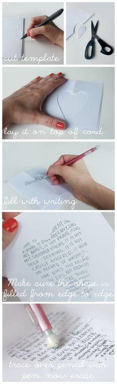 Zelf kaartjes maken, hart-mal maken, opvullen met tekst, eerst met potlood, daarna met pen.