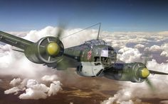 Aircraft Junkers Ju 88, Hleb Bychykhin on ArtStation at https://www.artstation.com/artwork/rv2vJ
