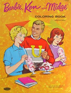 "Barbie Ken and Midge Coloring Book * look at Midge. she's all like ""f*cking Barbie, you vapid twat, jokes on you. Ken is gayer than gay. Barbie Box, Barbie Paper Dolls, Play Barbie, Barbie And Ken, Barbie Stuff, Mattel Barbie, Vintage Barbie Dolls, Vintage Paper Dolls, Vintage Toys"