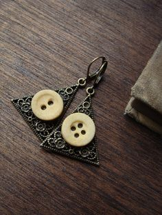 civil war era bone button earrings by luminoddities on etsy $30