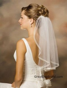Affordable shoulder length wedding veils available in white, diamond white or ivory. Available white or ivory. Wedding veils by Illusions Bridal Veils. Veil Hairstyles, Wedding Hairstyles With Veil, Short Wedding Hair, Short Veil, Bride Veil, Bridal Hair, Marie, Long Hair Styles, Wedding Dresses