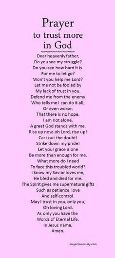 Prayer to trust more in God by geraldine