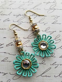 Check out these blinging earrings in my Etsy shop https://www.etsy.com/listing/399826521/rhinestone-flower-earrings-teal-flowers