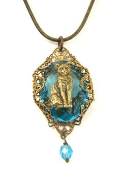 Blue Kitty , Vintage Glass Jewel Pendant and Cat Victorian One of a Kind Creation by JewelsByNature on Etsy