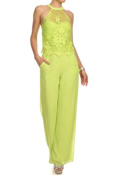 Solid Lace Full Length Wide Legs Jumpsuit.