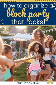 How to Plan and Organize a Block Party that Rocks! – Our Happy Hive – Party Ideas Block Party Games, Tween Party Games, Princess Party Games, Party Activities, Backyard Party Games, Dinner Party Games, Backyard Bbq, Diy Party Crafts, Craft Party
