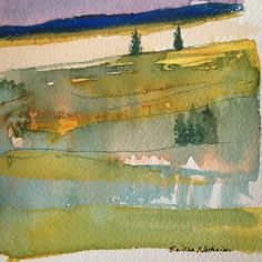 $20 - Watercolor Landscape Sketch, Mountains, Pines, Small Abstract Artwork, Black Hills, South Dakota by ElissaSueWatercolors on Etsy