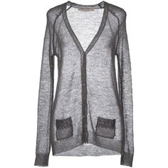 Nougat London Cardigan (53 AUD) ❤ liked on Polyvore featuring tops, cardigans, grey, grey top, sequin cardigan, v neck long sleeve top, gray top and long sleeve tops