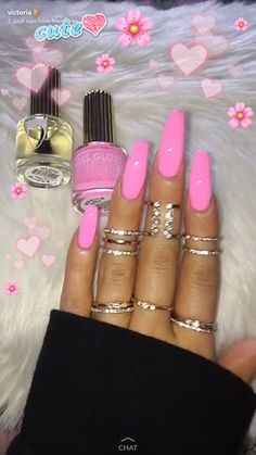 Beautiful Pink long nails #NailJewels