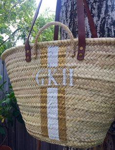 gold/white monogrammed bag