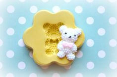 DM0026 Puffy Teddy Bear With Bow Silicone Rubber by DecodenMolds