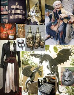 Metal dragons, costume & other deco pieces