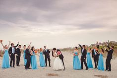 Charleston, SC Beach Wedding at Wild Dunes Resort | Bridal Party on the Beach | #WildDunesWeddings | Destination Isle of Palms and Charleston Weddings | Photo by Richard Bell Photography