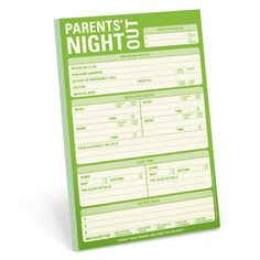 Knock Knock's Parents' Night Out Pad is a full babysitter check list to keep the kid(s) alive (including a list of important numbers) while you're out. Funny parent gift.