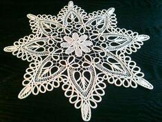 "Crocheted Doily, Romanian Point Lace Crochet Doily, Ecru (Beige), Table Centerpiece, 19.5"" diameter. $80.00, via Etsy."