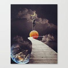 """The Big Climb"" poster by Trash Riot -- arte, ilustraciones, art inspiration, illustrations, indie, alternative, pretty, hipster, retro, cool stuff, vintage beauty, surreal, dream, collage, moon, earth, mars. | decoration, fine art print for home decor."