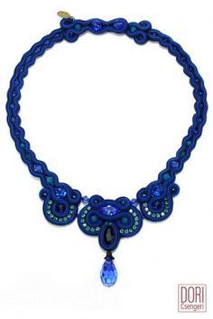 Downtown electric blue day to evening necklace by Dori Csengeri #DoriCsengeri #electricblue #shockingblue #daytoevening |#necklace