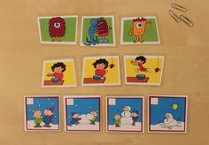 Úkolem je seřadit kartičky za sebe tak, jak se asi odehrál příběh na obrázcích. Poté, co dítě obrázky seřadí, necháme ho příběh vyprávět.