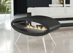 A portable fireplace that looks like it's from the Jetson's house!