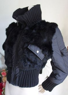 Vintage 80s Black Bomber SKI Rabbit FUR Bolero Jacket L
