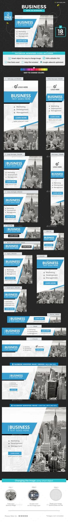 #Business #Banners - Banners & Ads #Web Elements Download here: https://graphicriver.net/item/business-banners/20192823?ref=alena994