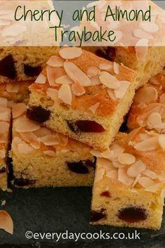 Cherry and almond traybake. Easy cake to make for tea or dessert. … Cherry and almond traybake. Easy cake to make for tea or dessert. Cherry And Almond Cake, Cherry Cake, Almond Cakes, Tray Bake Recipes, No Bake Desserts, Cake Recipes, Easy Cakes To Make, How To Make Cake, Bakewell Traybake