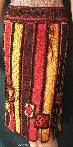 """Купить Юбка """"Краски осени"""" - юбка, юбка крючком, зимняя юбка, цветная, юбка в полоску"""