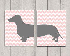 Chevron and Dachshund!!! Dachshund Art Print  Modern Dog Art  8x10 by HappyTailPrints, $27.00