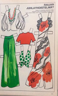 Raija Stark, Finnish paper doll 1973 of Dress Up Dolls, Vintage Paper Dolls, Euro, Scandinavian, Arts And Crafts, Pizza, Templates, Cards, Vintage Paper