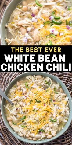 This easy Slow Cooker White Bean Chicken Chili is loaded with tender chicken, beans, salsa verde and vegetables! This easy soup is naturally gluten free and great for meal prep! Slow Cooker Huhn, Slow Cooker Recipes, Soup Recipes, Chicken Recipes, Dinner Recipes, Cooking Recipes, Healthy Recipes, Chicken Beans Recipe, Recipies