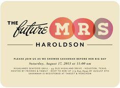 Title TypeBridal Shower Invites.  Love the retro feel