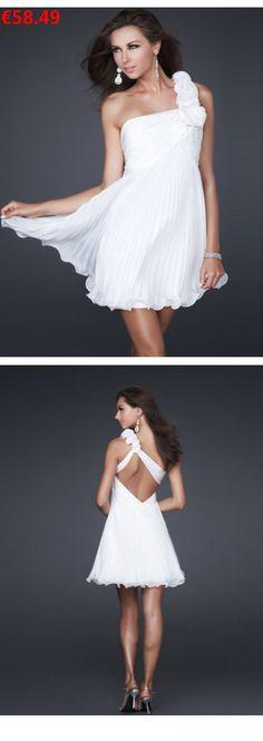 3e8957f2a389b A-Linie aus Chiffon 1-Schulter Ärmellos mit Kurz/Mini Rückenfrei Weiße  Abschlusskleider 2016/Partykleider Günstig