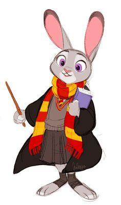 Judy Hopps in Hogwarts. Disney Hogwarts, Harry Potter Disney, Disney Nerd, Disney Marvel, Disney Fan Art, Cute Disney, Disney And Dreamworks, Disney Pixar, Zootopia Art