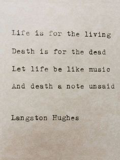 Typed Quote Langston Hughes Poem Typewriter Quote Typed Paper Typewriter Poetry Typed on paper Hand typed poem Life Quote Harlem Renaissance Langston Hughes Typewriter Poem Life And Death par StudioCeladon Typed Quotes, Poem Quotes, Words Quotes, Life Quotes, Sayings, Life Death Quotes, Peace Quotes, Happiness Quotes, Deep Relationship Quotes