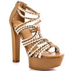 Womens $285 L.A.M.B. Morisa Braided Leather Tan Brown Platforms Heels Sandals 8