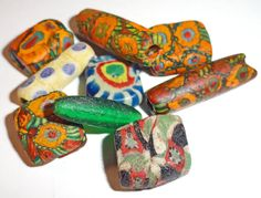 Superb Ancient Antique  Byzantine or Islamic mosaic Glas Color Beads. #islamicart #islamicbead #beads