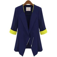 Women's lapel contrast color half sleeve inclined zipper solid color... ($16) ❤ liked on Polyvore featuring outerwear, jackets, blazers, coats, slim blazer jacket, lapel blazer, blue blazer jacket, blue jackets and slim fit blue blazer