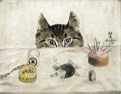 Couturier Cat, 1927 by Tsuguharu Foujita. Magic Realism. animal painting