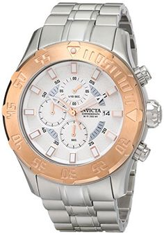 Invicta Mens 13108 Pro Diver Chronograph Silver Textured Dial Stainless Steel Watch ** You can get additional details at the image link. (This is an Amazon affiliate link)