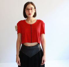 red stripped cropped top s  m by cheapopulance on Etsy, $65.00