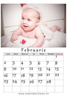 Calendar luna Februarie cu tema Valentyne's day. Ingeras Cupidon