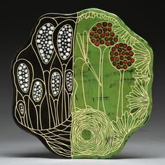 """Marcy Neiditz Ceramic Art, """"Inspiration comes from plant-life. the microscopic world, the idea of biological plant-like forms coming alive, growing, and aging. Branches, roots, bones, & microorganisms are ingredients that occupy my imagination, & provide inspiration. My work is wheel-thrown & hand-built, includes layering of glazes, slips & underglazes, incised sgraffito drawings and hand-painted surfaces."""