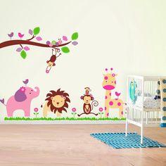Huge Elephant Monkey Trees Wall Stickers art Children paper Nursery Kids Girls