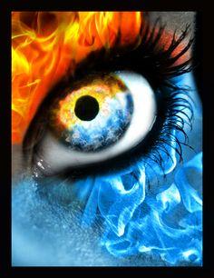 fire and ice - Bing Images Foto Fantasy, Fantasy Art, Naruto Und Sasuke, Fire Eyes, Flame Art, Ange Demon, Smoke Art, Eye Art, Cool Eyes