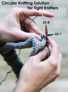 Knitting Tip For Tight Knitting Using Circulars Needles. (two different needle sizes)