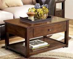 Lift Top Cocktail Table in Dark Brown