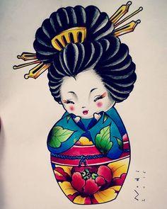 #kokeshi #kokeshidoll #geisha #peony #kimono #colours #tattooidea #flashtattoo #graphiteonpaper #graphite #loveit #socute #cute #doll #lovejapan #japanlover #followme #followforfollow #instatattoos My little kokeshi