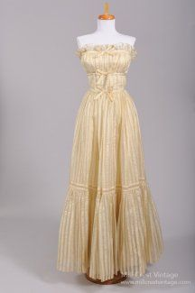 1960 French Peasant Style Vintage Wedding Gown
